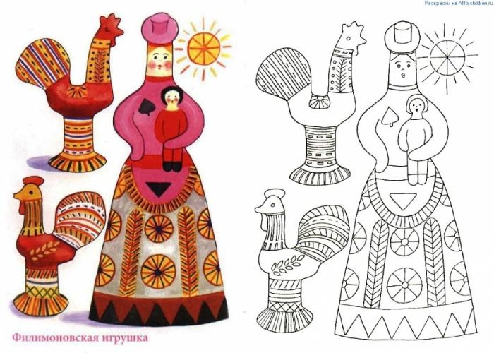 Рисунки на народных игрушках