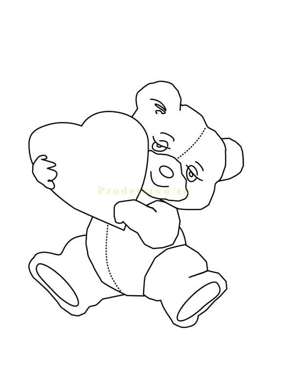 мишка с сердечком рисунок на ногти