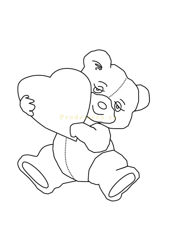 мишка с сердечком рисунок карандашом поэтапно