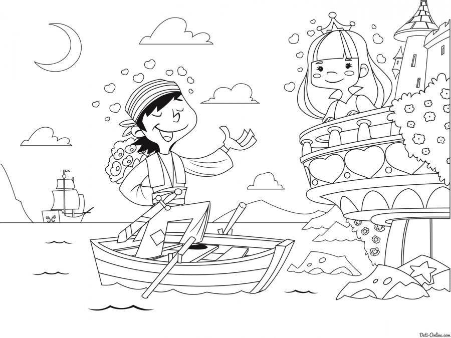 раскраска принцесса и пират раскраску рф распечатать и