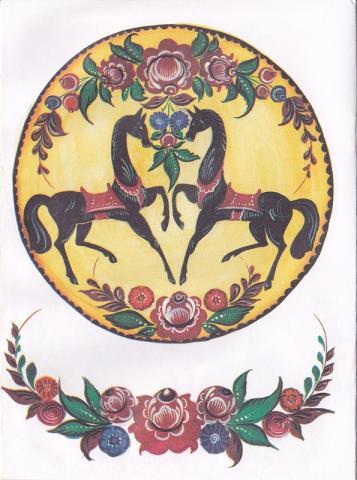 Раскраска Городецкая роспись тарелка