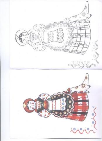 Раскраска дымковская игрушка кукла