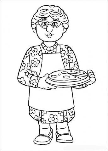 Раскраска дед бабушка с пирогом