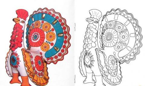 Раскраска дымковская игрушка павлин