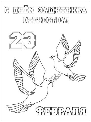 Раскраска голубей к 23 февраля