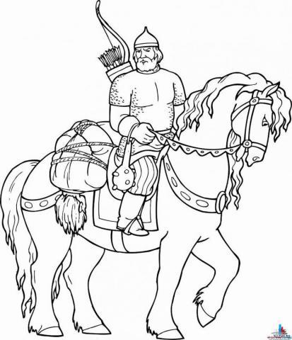 Раскраска богатыря ко дню Защитника Отечества