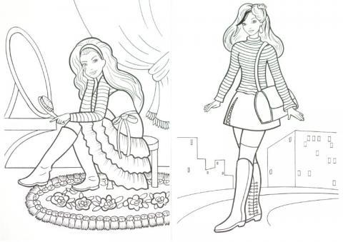 Раскраска модница возле зеркола