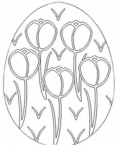 Раскраска пасхальное яйцо узор тюльпанами