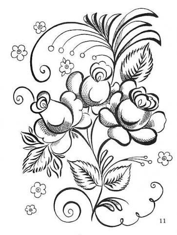 Раскраска гжель цветы