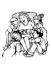 Раскраска бабушка и внуки
