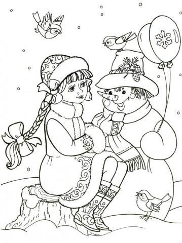 Раскраска Снегурочка и снеговик