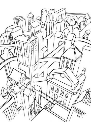 Раскраска Город с многоэтажками