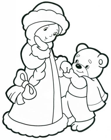 Раскраска снегурочка и медведь