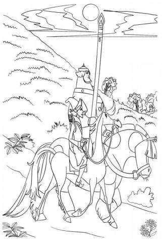 Раскраска богатырь на коне