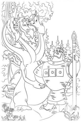 Раскраска богатырь и змей гарыныч