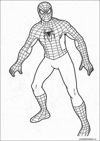 Распечатать раскраску для мальчиков человек паук