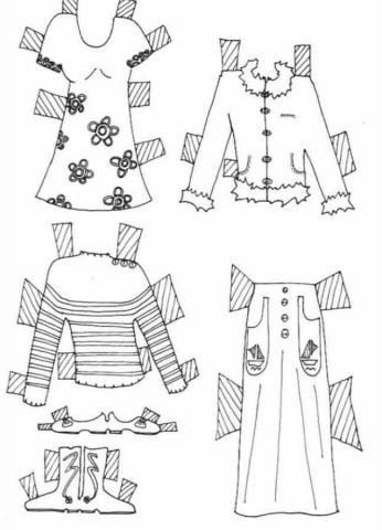Раскраска одежда  платья