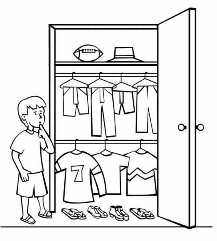 Раскраска одежда  в шкафу