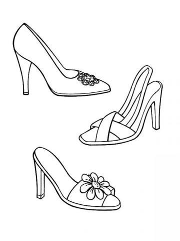 Раскраска обувь женская