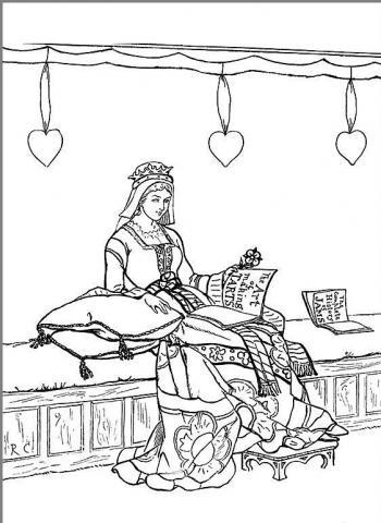 Раскраска королева читает
