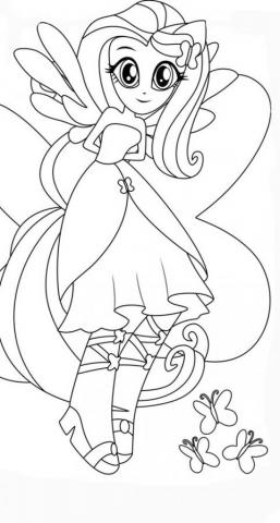 Раскраски Девушки Эквестрии флаттершай красивый стиль