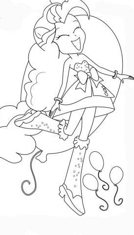 Раскраски Девушки Эквестрии пинки пай веселая