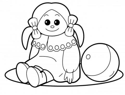 Раскраска кукла с мячом