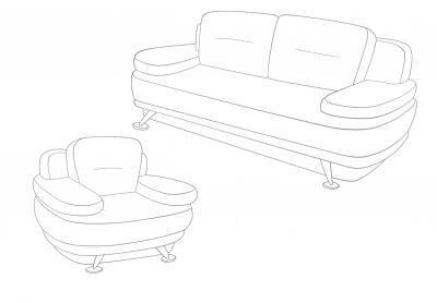 Раскраска мебель диван и кресло