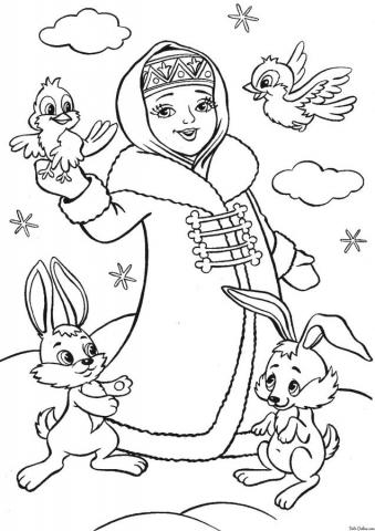Раскраска Снегурочка с птичками и зайчиками