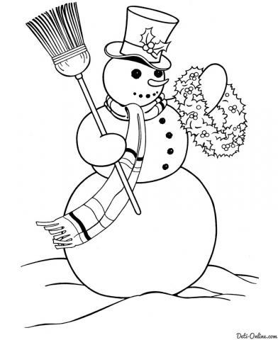Раскраска Снеговик с цветочным венком