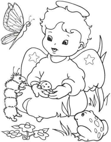 Раскраски ангелы с детьми