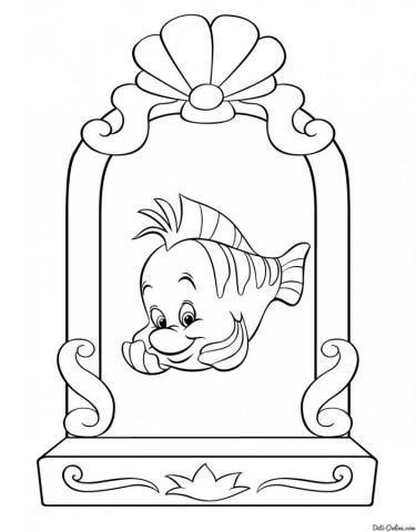 Раскраска Флаундер в зеркале