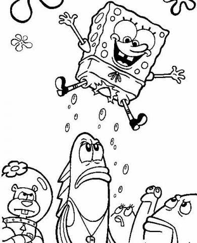 Раскраски Губка Боб прыгает
