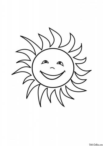 Раскраска Солнце улыбается