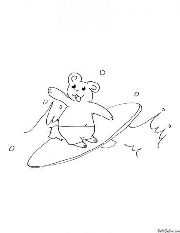 Раскраска Серфинг с медвежонком