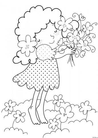 Раскраска Девочка с цветами