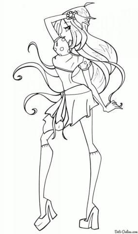 Раскраска Новый костюм Флоры