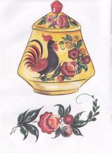 Раскраска Городецкая роспись сахарница