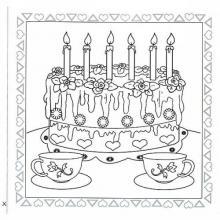 Раскраска с днем рождения торт с чаем