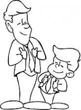 Раскраска папа с сыном