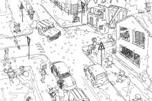 Раскраска Зимний город