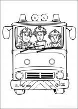 Раскраска пожарные на машине