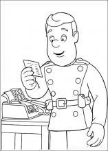 Раскраска пожарный читает