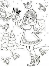 Раскраска Снегурочка и птички