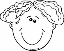 Раскраска Лицо кудрявой девочки