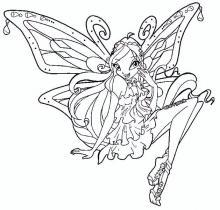 Раскраска принцеса с крыльями