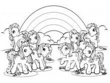 Раскраска Пони и радуга