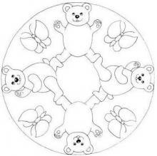 Раскраска тарелка с медвижатами