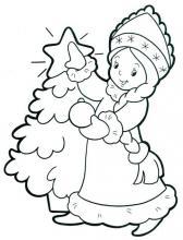 Раскраска снегурочка возле елки