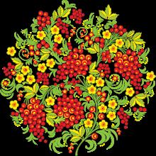 Раскраска Городецкая роспись Превью рябина
